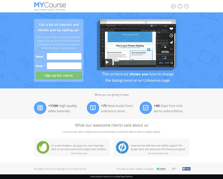 MYCourse - Unbounce eCourse Landing page Template by PixFort ...