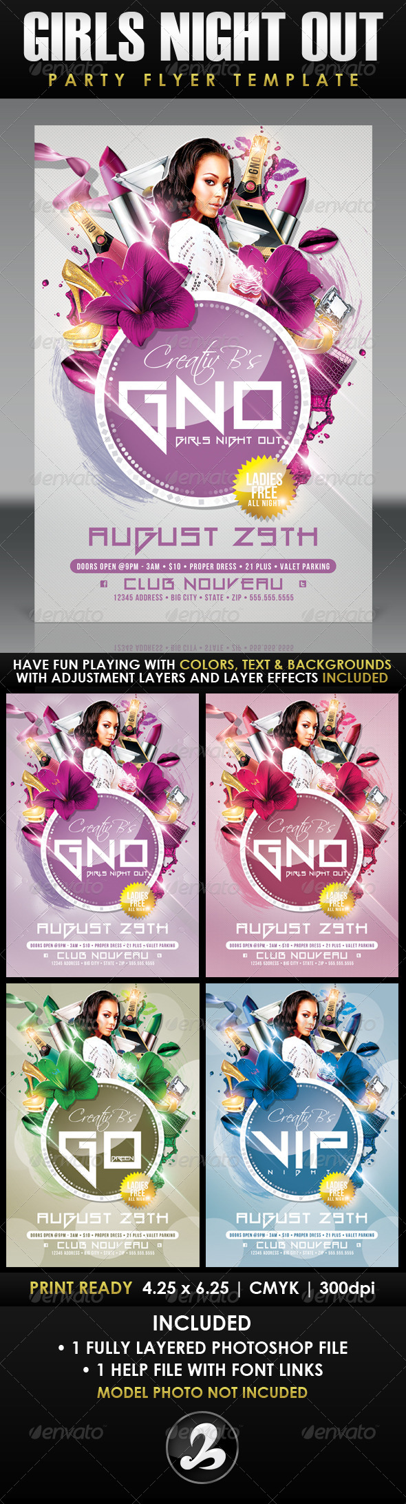 GNO - Girls Night Out Party Flyer Template - Clubs & Parties Events