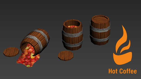 Cartoony Barrels - 3DOcean Item for Sale