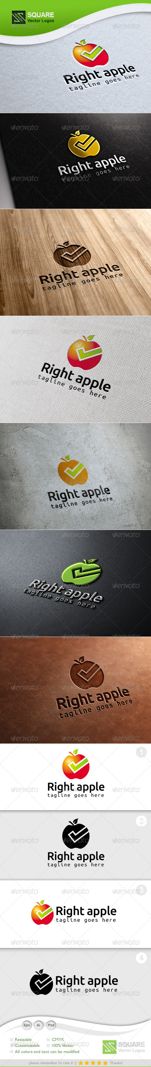 Right, Apple Vector Logo Template - Food Logo Templates