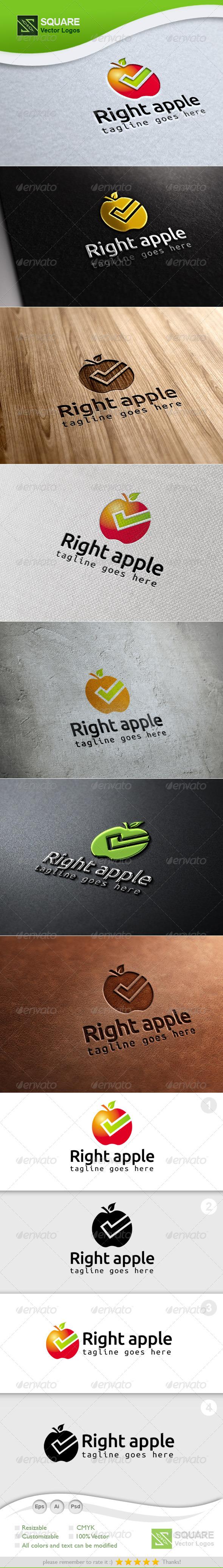Right, Apple Vector Logo Template - Food Logo Templates