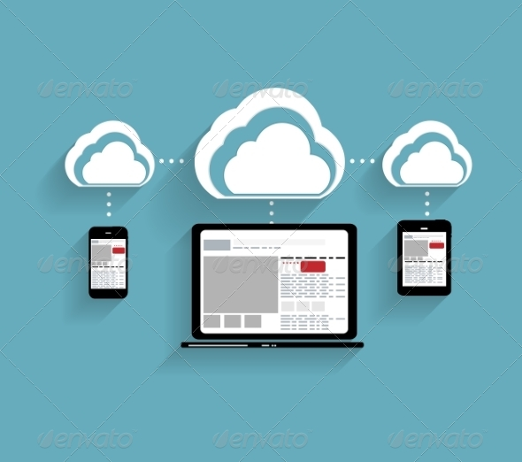 Cloud Concept on Different Electronic Devices - Computers Technology