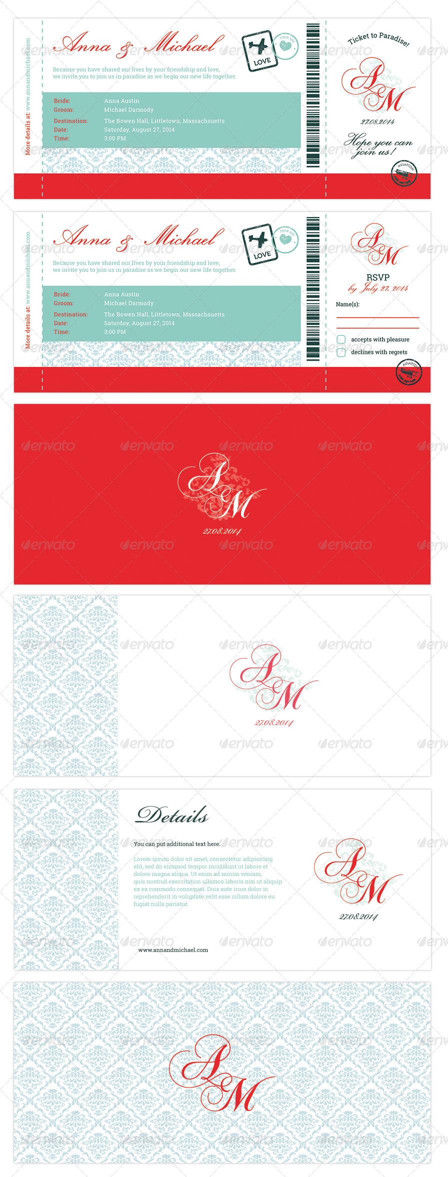 Elegant Boarding Pass Wedding Invitation RSVP by ejanas | GraphicRiver