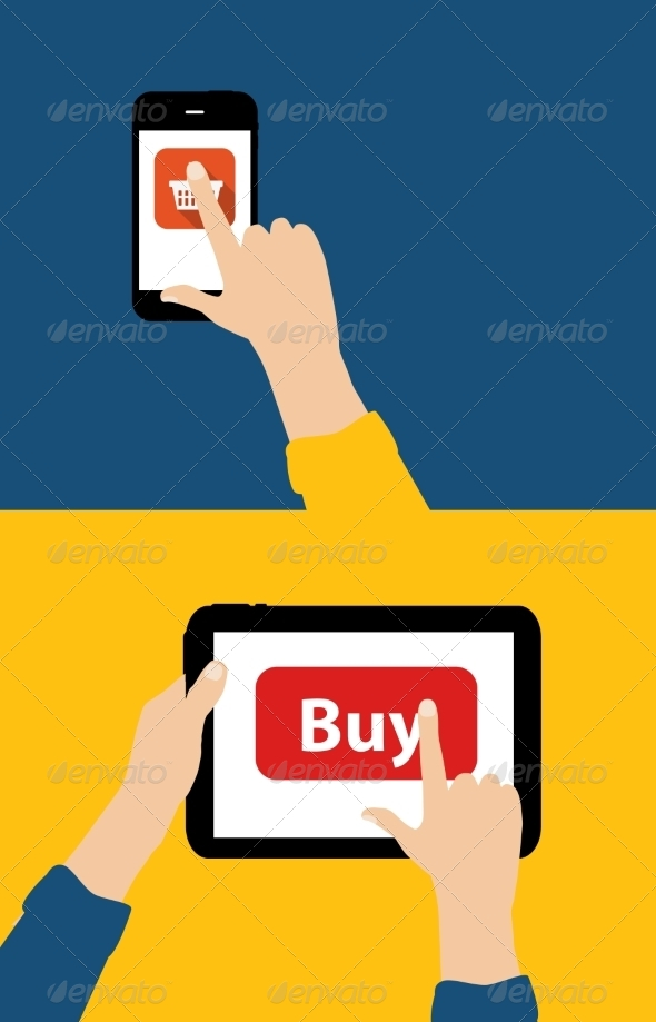 Online Shopping Flat Concept - Computers Technology