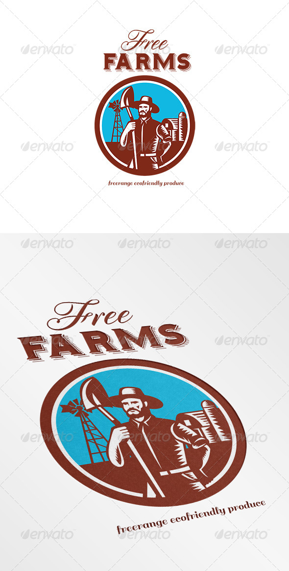 Free Farms Freerange Ecofriendly Produce Logo - Humans Logo Templates