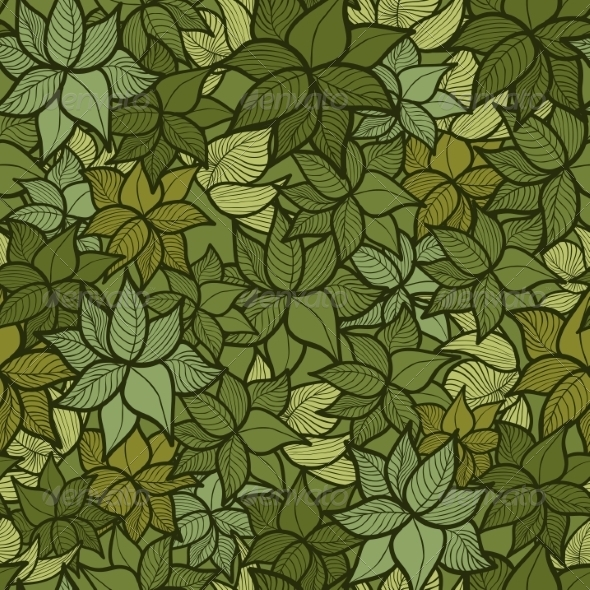 Seamless Green Leaves Pattern - Flowers & Plants Nature