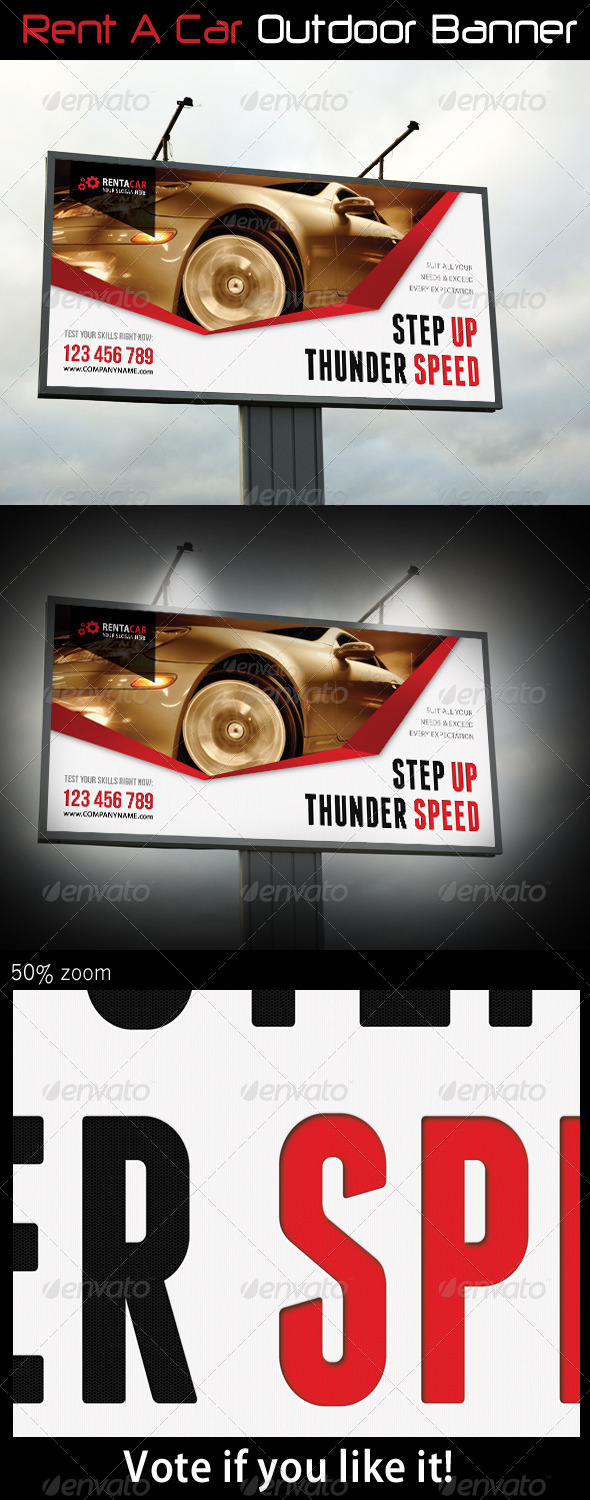 Rent A Car Outdoor Banner 07 - Signage Print Templates