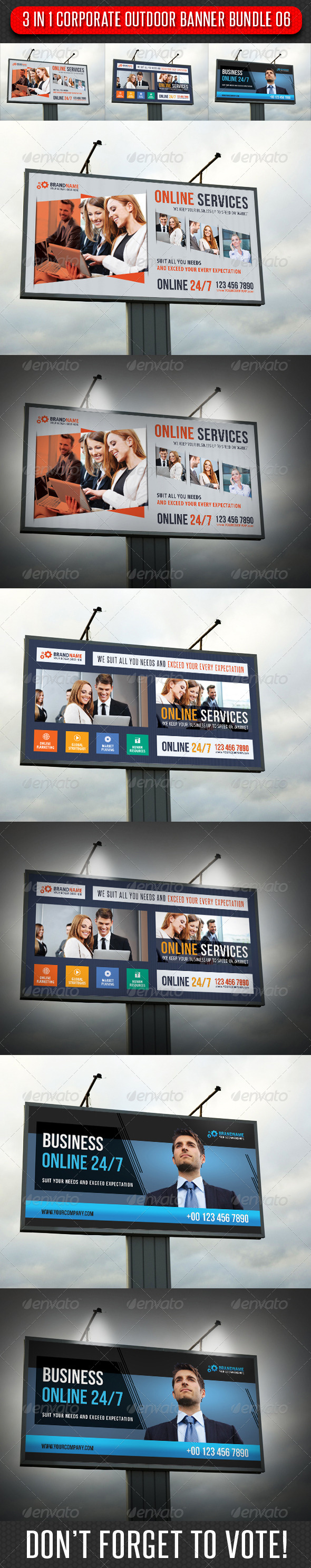 3 in 1 Corporate Outdoor Banner Bundle 07 - Signage Print Templates