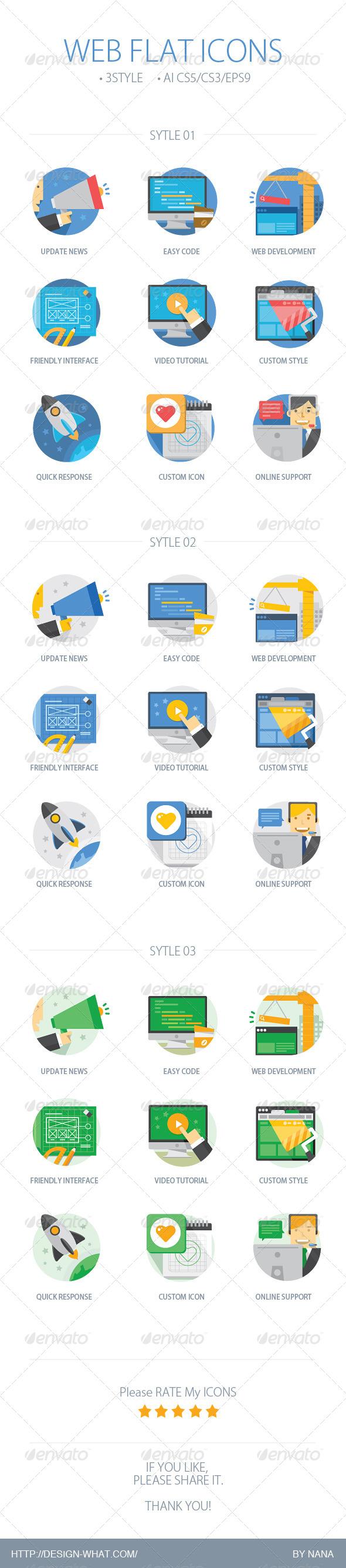 Web Flat Icons - Web Icons