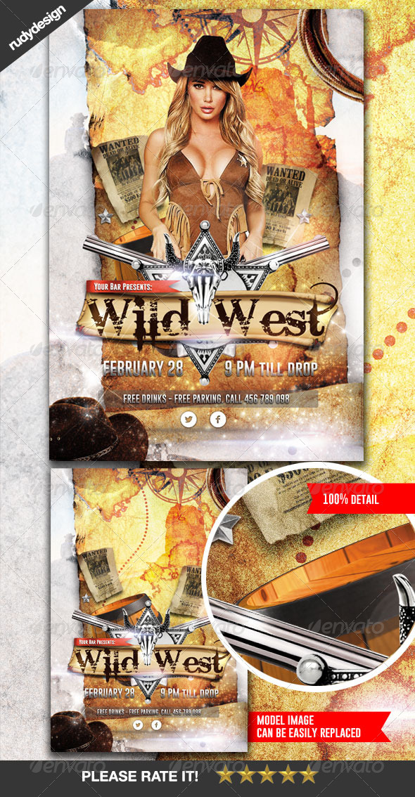 Wild West Cowboy Flyer Design - Clubs & Parties Events