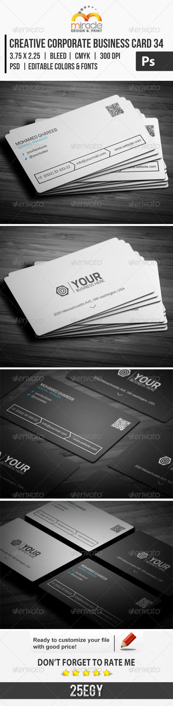 Creative Corporate Business Card 34 - Corporate Business Cards