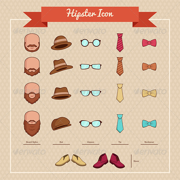 Hipsters Icons - Objects Vectors