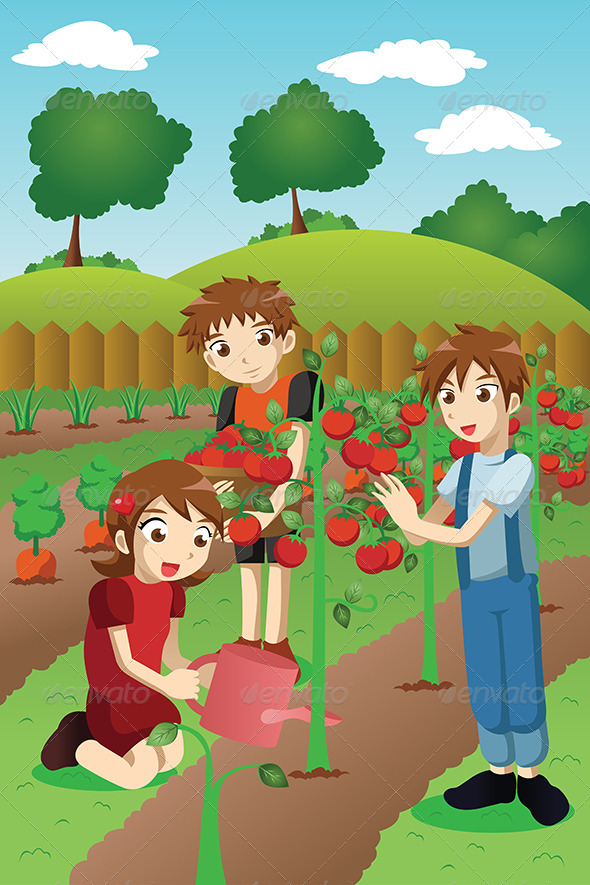 Kids Planting Vegetables and Fruits - People Characters