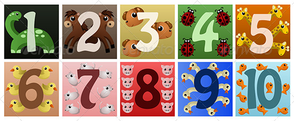 Numbers with Animals - Decorative Vectors