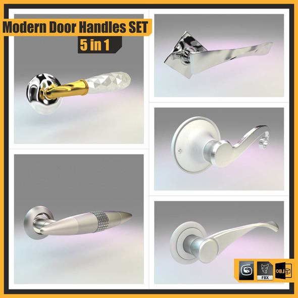 Modern Door Handles Set, 5 in 1 - 3DOcean Item for Sale