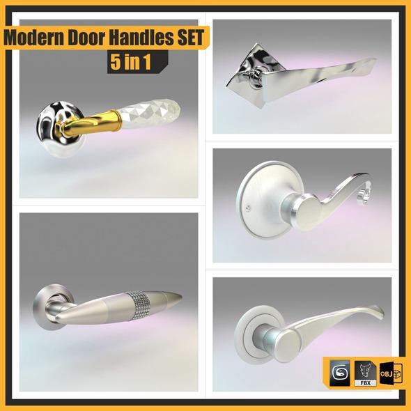 Modern Door Handles Set, 5 in 1 - 3DOcean Item for Sale