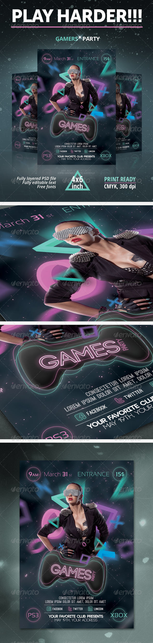 Games Party Flyer - Clubs & Parties Events