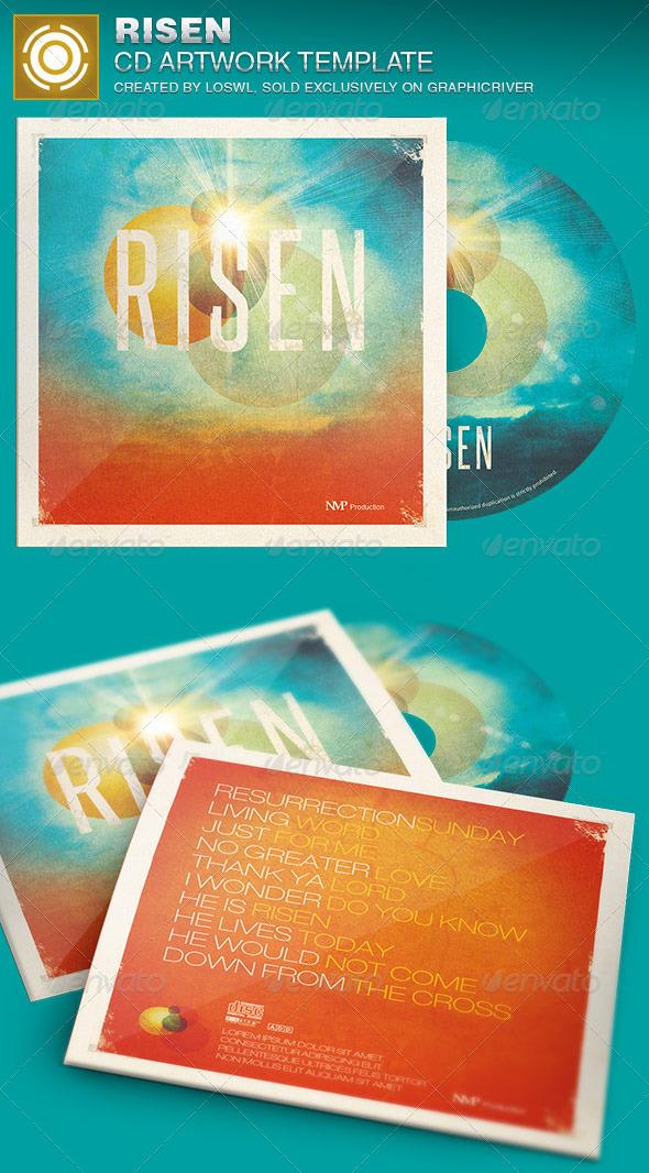 Risen CD Artwork Template - CD & DVD Artwork Print Templates