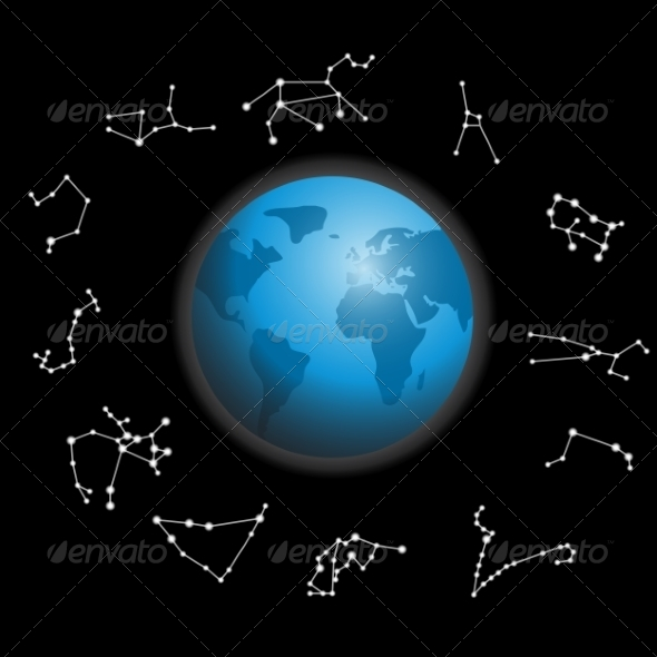 Constellations around the Globe - Web Elements Vectors