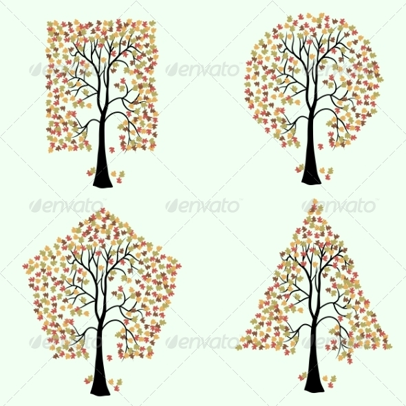 Trees of Different Geometric Shapes.  - Web Elements Vectors