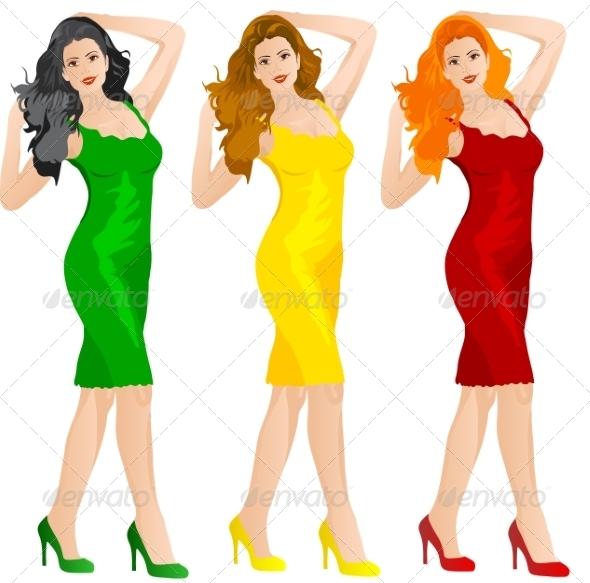 Woman in Colored Dresses - Web Elements Vectors