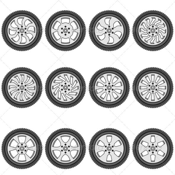 Automotive Wheels - Web Elements Vectors