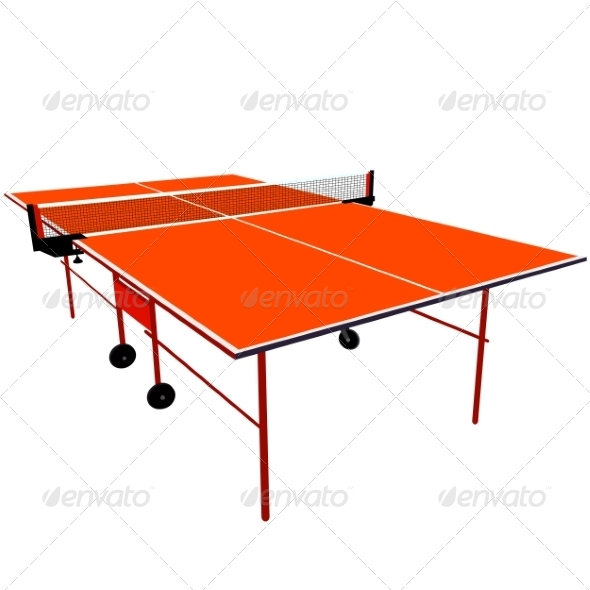 Orange Ping Pong Table - Web Elements Vectors
