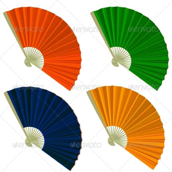Set Traditional Folding Fans - Web Elements Vectors