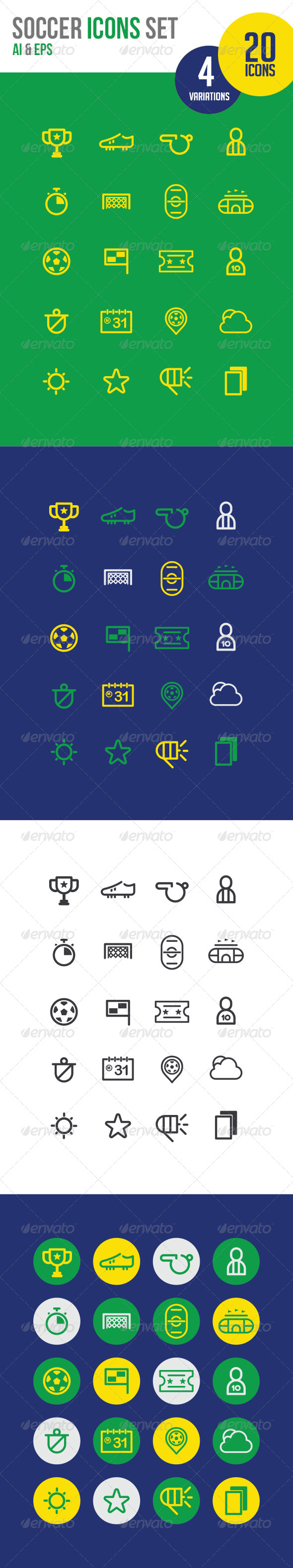 20 Soccer Icons line - Icons