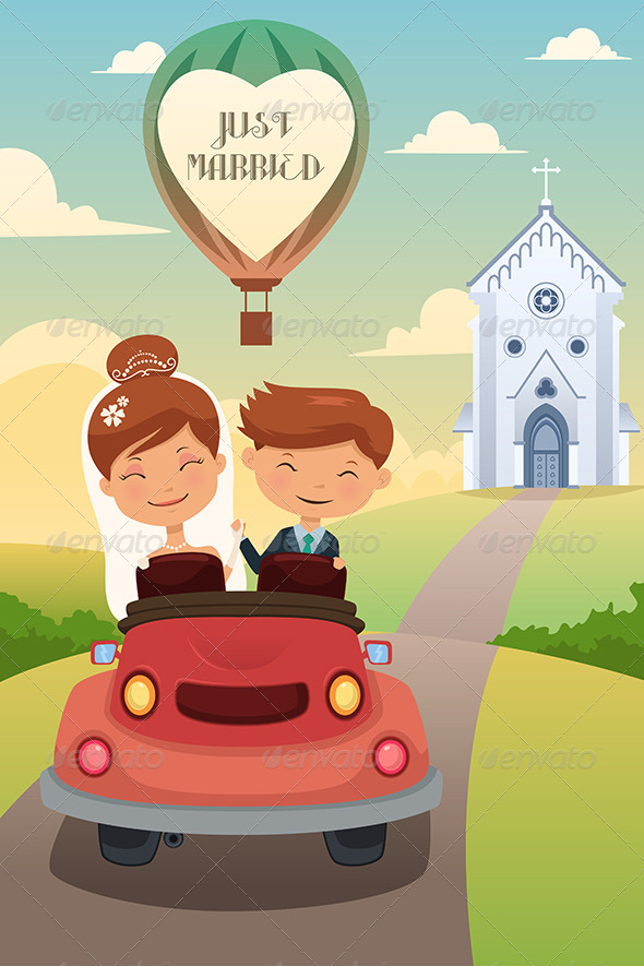 Bride and Groom Riding a Car after Wedding - Weddings Seasons/Holidays