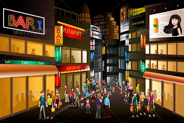 People Shopping at Night - Commercial / Shopping Conceptual