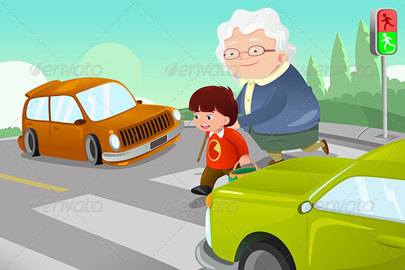Kid Helping Senior Lady Crossing the Street - People Characters