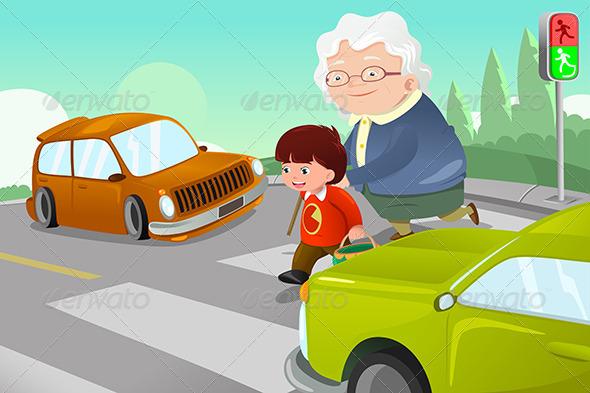 Kid Helping Senior Lady Crossing the Street - People Characters