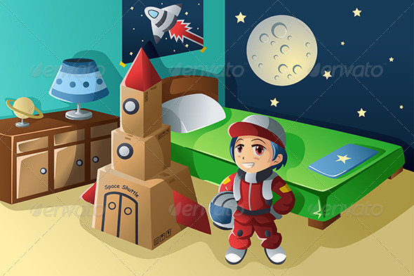 Kid Dressed in Astronaut Costume - People Characters