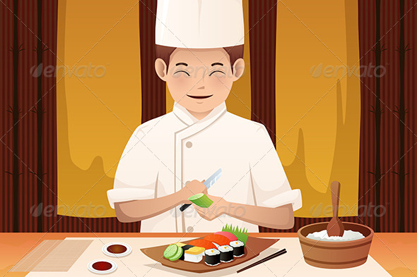 Sushi Chef Working in a Restaurant - People Characters