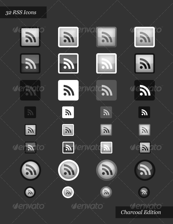 RSS Icons | Charcoal Edition - Web Icons