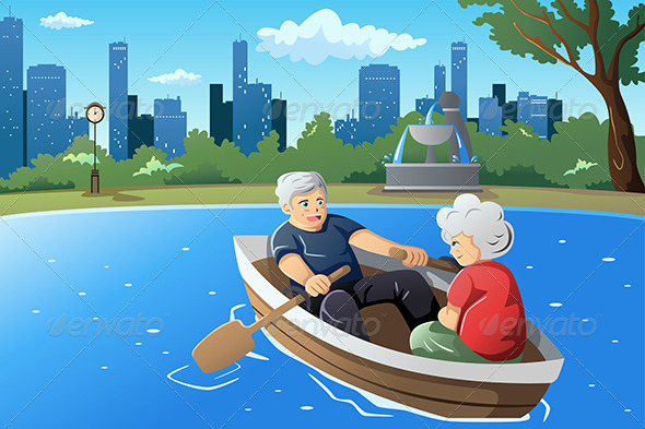 Senior Couple Enjoying Their Retirement - People Characters