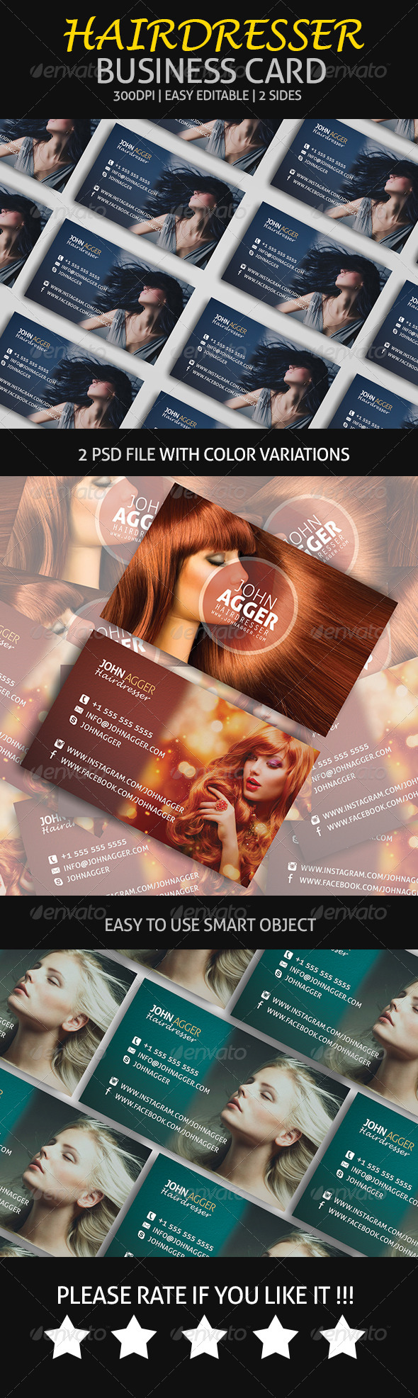 Hairdresser - Business Card - Industry Specific Business Cards
