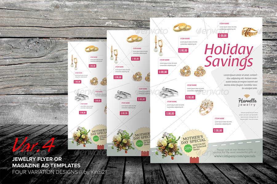 Jewelry Flyer Or Magazine Ad Templates By Kinzi  Graphicriver