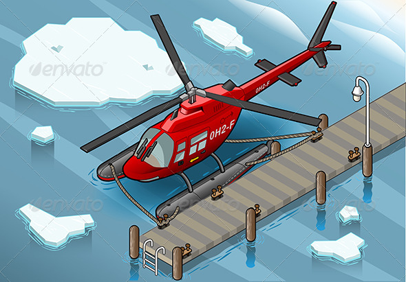 Isometric Arctic Emergency Helicopter at Pier - Objects Vectors