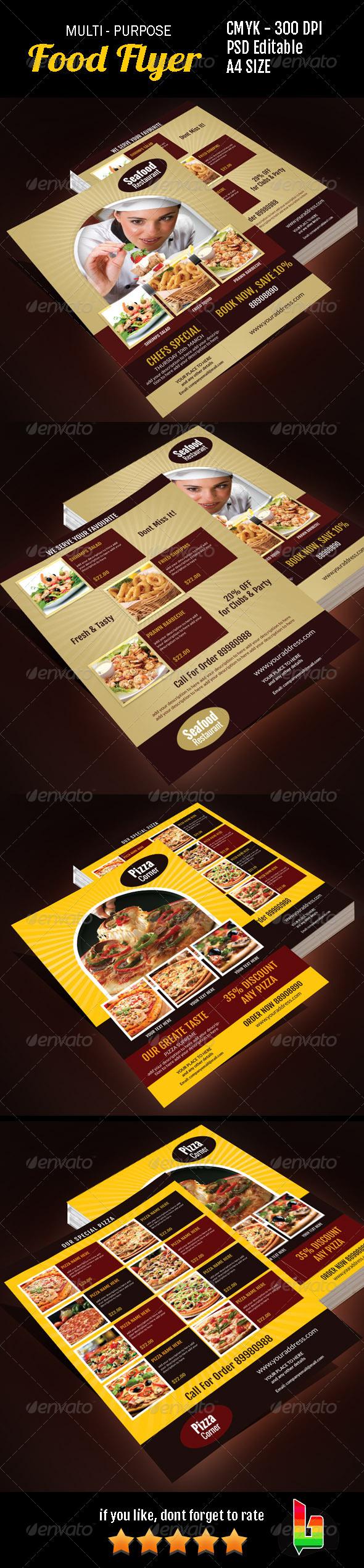 Multi Purpose Food Flyer - Restaurant Flyers