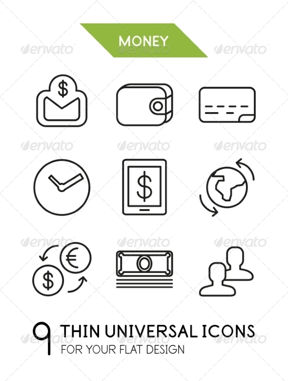 Collection of Money Finance Icons - Miscellaneous Vectors