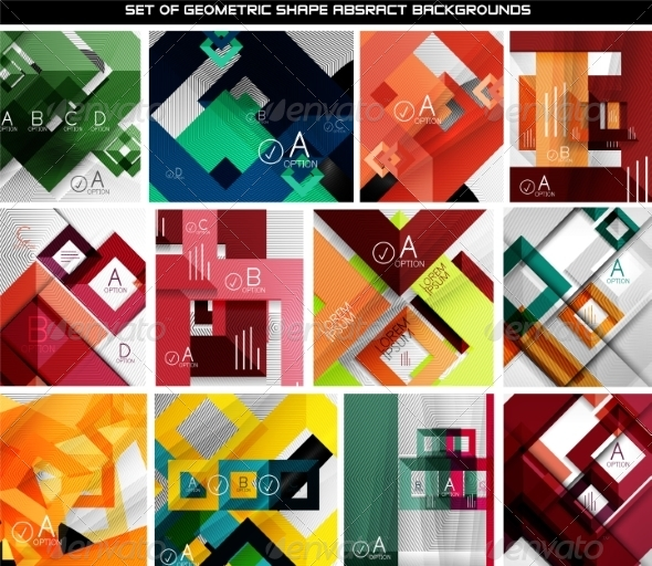 Collection of Geometric Abstract Backgrounds - Abstract Conceptual