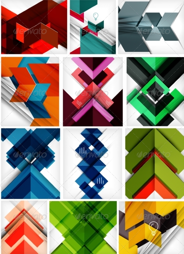 Set of Paper Geometric Backgrounds - Backgrounds Decorative