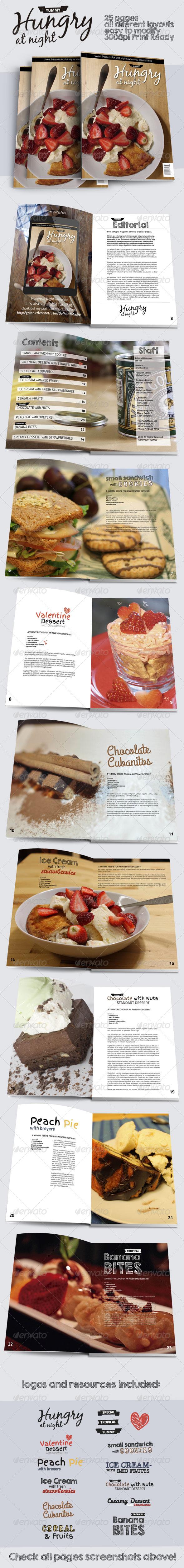 Hungry At Night Print Magazine Template - Magazines Print Templates