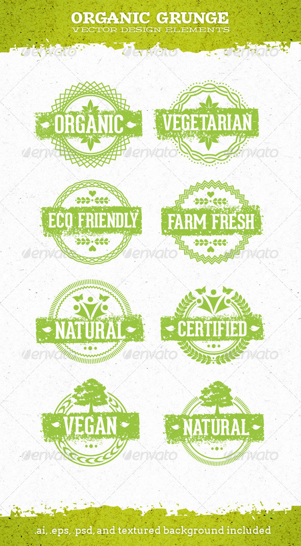 Organic Grunge Eco Natural Vector Elements - Flowers & Plants Nature