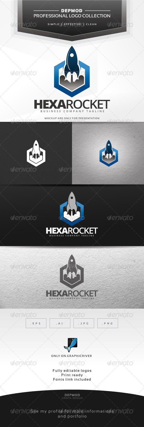 Hexa Rocket Logo - Symbols Logo Templates