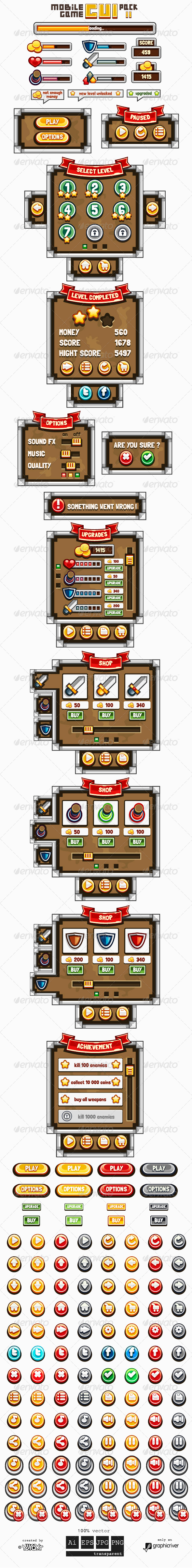 Mobile Game GUI Pack 2 - User Interfaces Game Assets