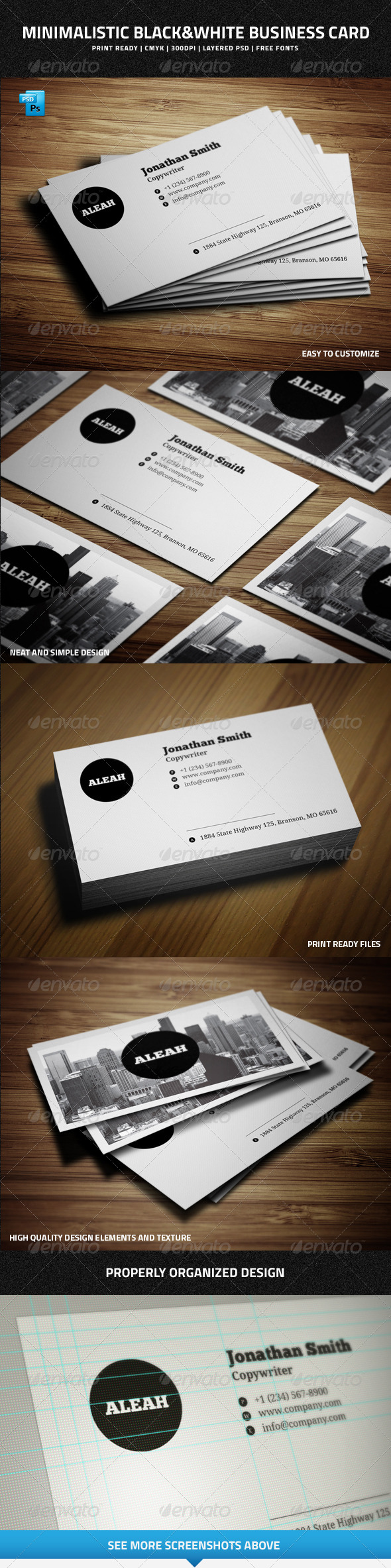 Minimalistic Black&White Business Card - 32 - Creative Business Cards