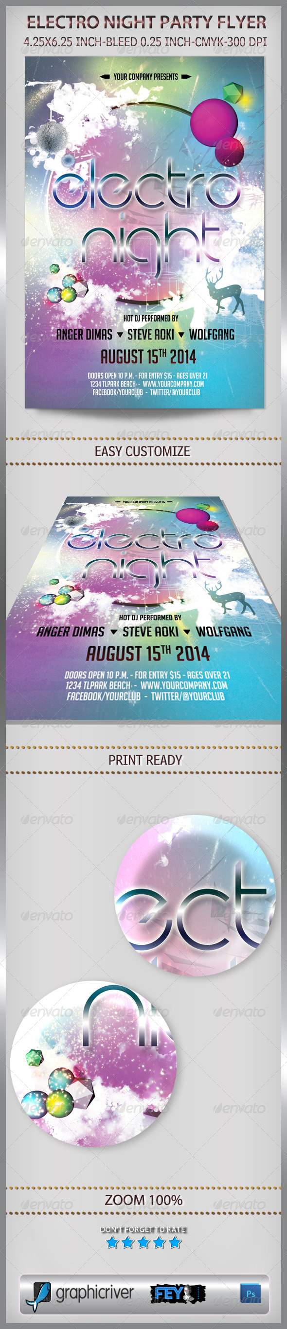 Electro Night Party Flyer - Events Flyers